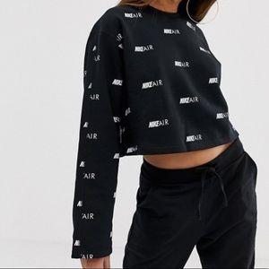 NEW Nike Air Cropped Logo Crew Fleece Sweatshirt